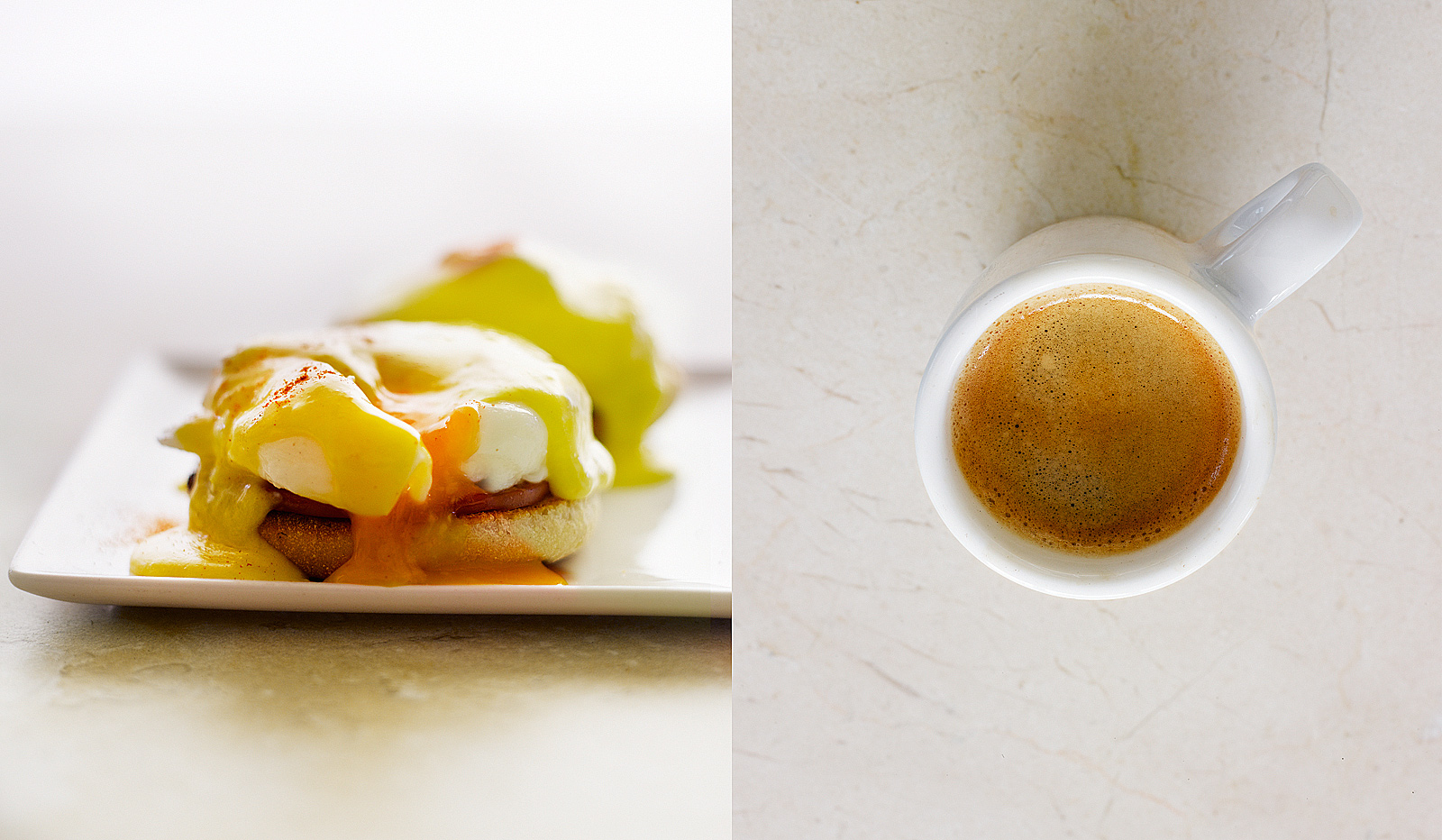 Eggs benedict- Expresso- Hollandaise sauce- Best food photography