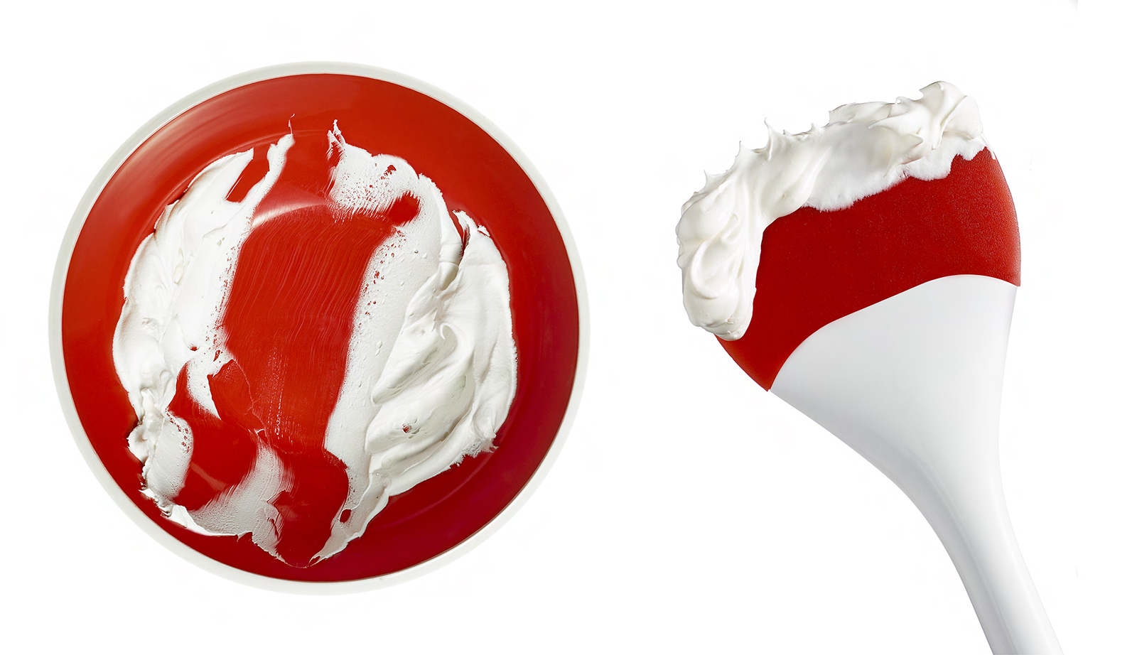 Whiped cream- creme fraiche- red bowl- red spatula